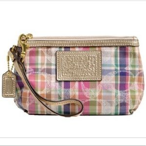 Coach Pink Madras Plaid Wristlet